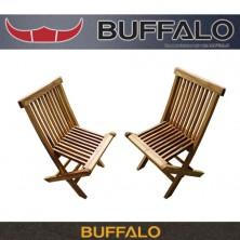 버팔로 아즈텍 티크 원목 접이식 의자세트 (2EA)